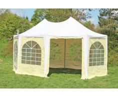 Stabilezelte Pavillon 4x5,5m weiß / beige PVC Pagodenzelt Arabica Profi wasserdicht
