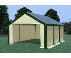 Stabilezelte Partyzelt Pavillon 4x6m Modular Pro PVC wasserdicht grün / beige