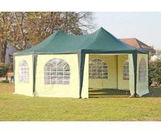 Stabilezelte Pavillon 5x6,8m grün / beige PVC Pagodenzelt Arabica Profi wasserdicht