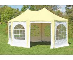 Stabilezelte Pavillon 4x5,5m beige / weiß PVC Pagodenzelt Arabica Profi wasserdicht