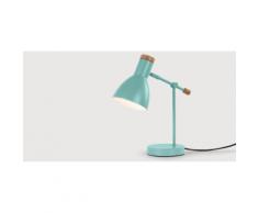 Cohen Nachttischlampe, Tuerkis und Eiche