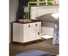 Empinio24 Nachttisch SEVILLA Farbe Weiß Kiefer Massivholz Breite 54 cm