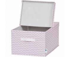 Ordnungsbox mit Klappdeckel, rosa Chevron