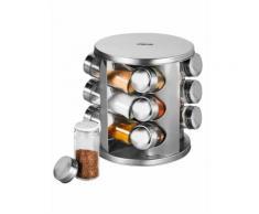 Edelstahl-Gewürzregal mit 12 Glasstreuer