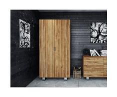 The Beds Steel Massivholz Kleiderschrank 2204 / 2-Türig / B 100 x H 210 x T 50 cm / Wildeiche weiß geölt
