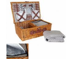 Picknickkorb-Set HWC-B25 für 4 Personen, Weiden-Korb + Kühlfach + Picknickdecke, Porzellan Edelstahl, beige ~ Variantenangebot