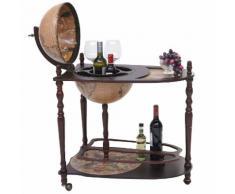 Globusbar mit Tisch HWC-T875, Minibar Hausbar Tischbar, Weltkugel rollbar Eukalyptusholz ~ Variantenangebot