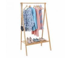 Standgarderobe HWC-B82, Kleiderständer Garderobe Garderobenständer, Bambus klappbar 150x84x57cm ~ Variantenangebot