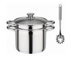 Spaghettitopf , Edelstahl 18/8, Induktion, 6,5 Liter, inkl. Pastalöffel, silber, Ø 22cm, »Treviso«, GSW