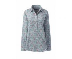 Gemusterte Bluse im Baumwoll/Leinenmix mit halber Knopfleiste - Weiß - 36-38 von Lands' End