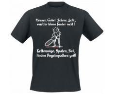 Kettesäge, Spaten, Seil, finden Psychopathen geil! Herren-T-Shirt - schwarz
