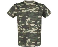 Black Premium by EMP camouflage T-Shirt mit Knopfleiste Herren-T-Shirt - camouflage