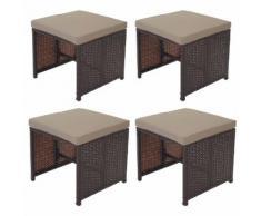 4x Poly-Rattan Hocker Kreta, Sitzhocker Lounge-Set, 36x40cm braun Kissen beige ~ Variantenangebot