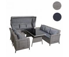 Poly-Rattan Garnitur HWC-F74, Sitzgruppe Gartengarnitur Lounge mit Sonnendach ~ Variantenangebot