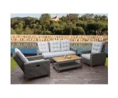 Gartengarnitur HWC-G28, Sitzgruppe Lounge-Set, Akazie Holz halbrundes Rattan, verstellbar ~ Variantenangebot