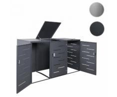 3er-Mülltonnenverkleidung HWC-E83, Mülltonnenbox Mülltonnenabdeckung, erweiterbar 108x61x76cm ~ Variantenangebot