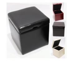 Hocker Sitzwürfel Sitzhocker Aufbewahrungsbox Onex, mit Deckel, LEDER, 45x44x44cm ~ Variantenangebot