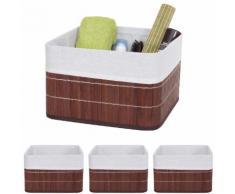 4x Aufbewahrungskorb HWC-C21, Korb Aufbewahrungsbox Ordnungsbox Sortierbox Regalkorb, Bambus braun ~ Variantenangebot