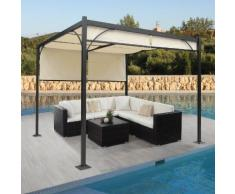 Pergola Granada, Garten Pavillon Terrassenüberdachung, stabiles 6cm-Alu-Gestell + Schiebedach 3x3m ~ Variantenangebot