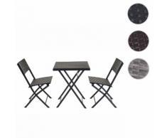 Poly-Rattan Balkonset HWC-E23, Garnitur Sitzgruppe Gartengarnitur, klappbar ~ Variantenangebot