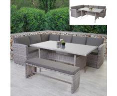Poly-Rattan-Garnitur HWC-A29, Gartengarnitur Sitzgruppe Lounge-Esstisch-Set, hellgrau ~ Variantenangebot