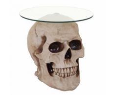 Beistelltisch Totenkopf HWC-A19, Glastisch Wohnzimmertisch Couchtisch Totenschädel, Polyresin rund Ø55cm natur ~ Variantenangebot