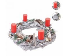 Adventskranz XXL rund, Weihnachtsdeko Tischkranz, Holz Ø 48cm weiß-grau ~ Variantenangebot