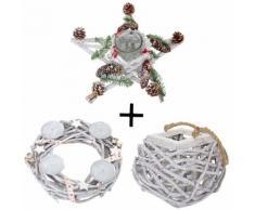 3er Set Adventskranz + Windlicht + Gesteck, Weihnachtsdeko Tischkranz Stern mit Glaseinsatz ~ Variantenangebot