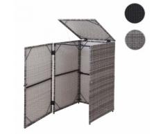 Mülltonnenverkleidung HWC-E25, Mülltonnenbox Mülltonnenabdeckung, Poly-Rattan 120l ~ Variantenangebot