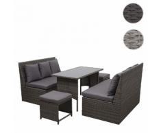 Poly-Rattan Garnitur HWC-G16, Gartengarnitur, Gastronomie 2x2er Sofa Tisch 2xHocker ~ Variantenangebot