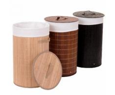 Wäschekorb HWC-C21, Laundry Wäschebox Wäschesammler Wäschebehälter Wäschetonne, Bambus rund 59x35cm 50l ~ Variantenangebot
