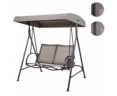 Hollywoodschaukel HWC-F89, Gartenschaukel Bank, 2-Sitzer verstellbares Dach Taschen 160cm Metall ~ Variantenangebot