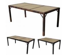 Poly-Rattan Gartentisch Ariana, Tisch Esszimmertisch, 150x90cm WPC ~ Variantenangebot