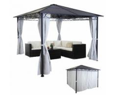 Hardtop Pergola HWC-C77, Garten Pavillon, Kunststoff-Dach Seitenwand Alu hellgrau 3x3m ~ Variantenangebot