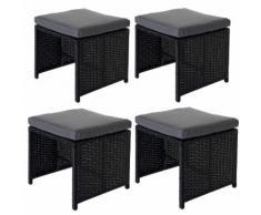 4x Poly-Rattan Hocker Kreta, Sitzhocker Lounge-Set, 36x40cm schwarz Kissen grau ~ Variantenangebot