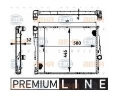 Kühler, Motorkühlung 'BEHR HELLA SERVICE *** PREMIUM LINE ***' | Hella, Fahrzeugausstattung: für Fahrzeuge mit Klimaanlage, Netzbreite: 445 mm ,Netzlänge: 580 mm