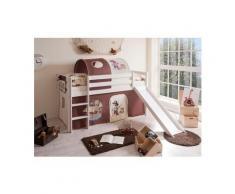 Ticaa Hochbett »Manuel« mit Rolllattenrost und Textil-Set, Kiefer massiv weiß, Textil Pirat braun-beige, Mit Textil-Set und Matratze
