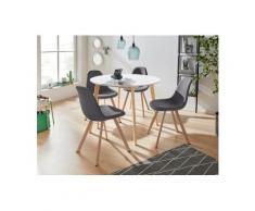 INOSIGN Essgruppe »Veneto«, (5-tlg), aus massivem Kiefernholz, bestehend aus Cody Esstisch 105 cm und 4er Set Veneto Stühle, grau
