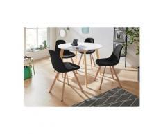 INOSIGN Essgruppe »Veneto«, (5-tlg), aus massivem Kiefernholz, bestehend aus Cody Esstisch 105 cm und 4er Set Veneto Stühle, schwarz