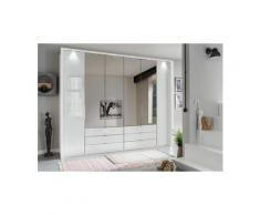 WIEMANN Falttürenschrank »Kansas« mit Spiegel und Glas, weiß, 300 cm x 217 cm x 58 cm