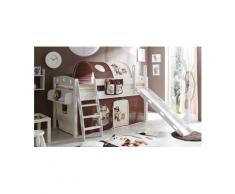 Ticaa Einzel-/Hochbett »Kenny« mit Rolllattenrost und Textil-Set, Kiefer massiv weiß, Textil Pirat braun-beige, Mit Textil-Set