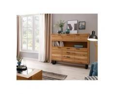Premium collection by Home affaire Highboard »Thilo«, aus massivem Eichenholz mit lackierten Metallbeinen