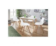 INOSIGN Essgruppe »Veneto«, (5-tlg), aus massivem Kiefernholz, bestehend aus Cody Esstisch 120 cm und 4er Set Veneto Stühle, weiß