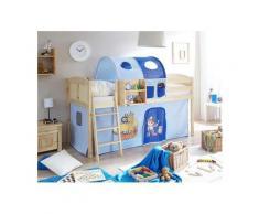 Ticaa Hochbett »Eric« mit Rolllattenrost und Textil-Set, KIefer massiv natur, Textil Pirat hellblau-dunkelblau, Mit Vorhang