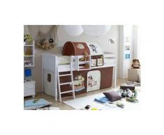 Ticaa Hochbett »Eric« mit Rolllattenrost und Textil-Set, KIefer massiv weiß, Textil Pirat Pirat braun-beige, Mit Vorhang
