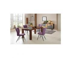 Home affaire Essgruppe »Gimbi«, (Set, 5-tlg), bestehend aus 1 Esstisch aus massivem Holz und 4 Stühlen mit schönem Webstoff Bezug, lila