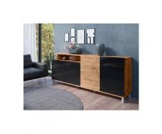 TRENDMANUFAKTUR Sideboard »Timber«, Breite 219 cm, schwarz