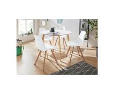 INOSIGN Essgruppe »Veneto«, (5-tlg), aus massivem Kiefernholz, bestehend aus Cody Esstisch 105 cm und 4er Set Veneto Stühle, weiß