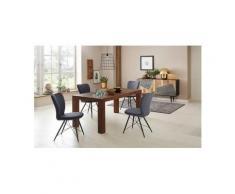 Home affaire Essgruppe »Gimbi«, (Set, 5-tlg), bestehend aus 1 Esstisch aus massivem Holz und 4 Stühlen mit schönem Webstoff Bezug, grau