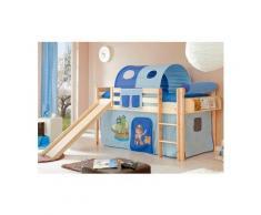 Ticaa Hochbett »Manuel« mit Rolllattenrost und Textil-Set, KIefer massiv natur, Textil Pirat hellblau-dunkelblau, Mit Vorhang